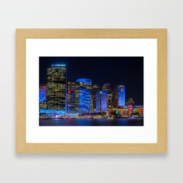 Color the City blue - Vivid Sydney Framed Art Print