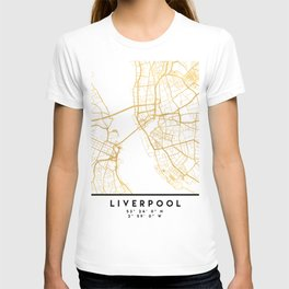 LIVERPOOL ENGLAND CITY STREET MAP ART T-shirt