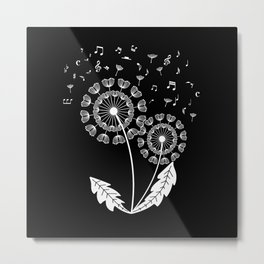 Dandelion Music Clef Musical Notes Metal Print
