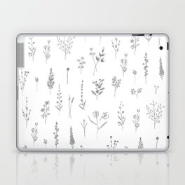 Wildflowers - Grey Flowers Laptop & iPad Skin