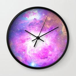 Colorful Pastel Pink Nebula Purple Galaxy Stars Wall Clock
