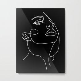 Woman In One Line Black Backgraund Metal Print