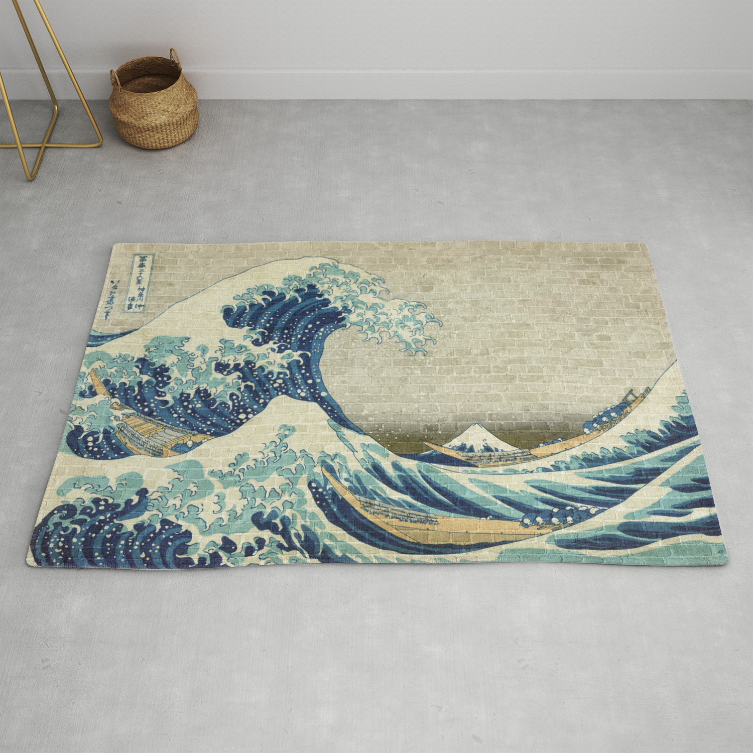 Brick Wall Painting Japanese Great Wave Off Kanagawa Urban Artist Rug By Urbanartist