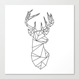 Geometric Stag (Black on White) Canvas Print