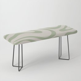 Liquid Swirl Abstract Pattern in Almond and Sage Green Bench