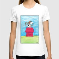 snoopy T-shirts featuring pilot Snoopy by DROIDMONKEY