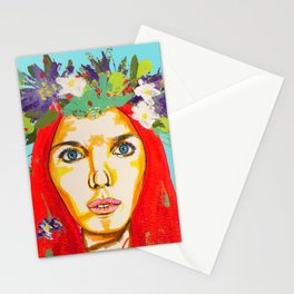 Red haired girl with flowers in her hair Stationery Cards