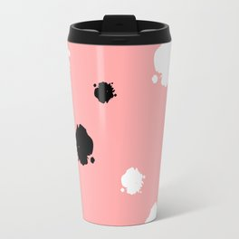 black and white ink blots on pink background pattern Travel Mug