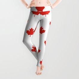 Large Tiled Canadian Maple Leaf Pattern Leggings