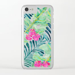 Lush Tropical Fronds & Hibiscus Clear iPhone Case