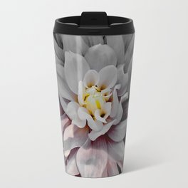 Grey Dahlia Bloom With Pink Travel Mug
