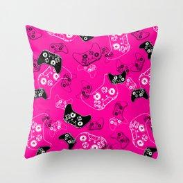 Video Game Pink Throw Pillow