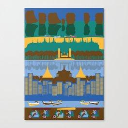 City with montage of landmarks, Bangkok, Thailand Canvas Print