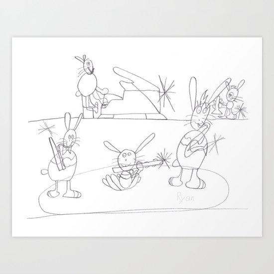 Musical Rabbits Art Print
