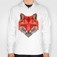 low poly Hoodies featuring Low poly Fox by exya