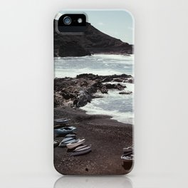 Boats on a beach iPhone Case