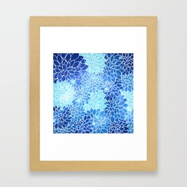 Space Dahlias Sky Blue Framed Art Print