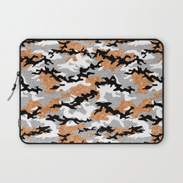 Faux Glitter Orange Camouflage Laptop Sleeve