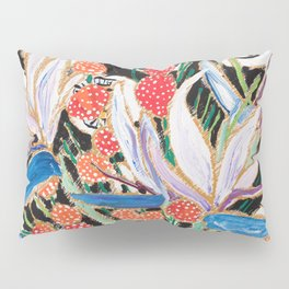 Lions and Tigers Dark Floral Still Life Painting Pillow Sham