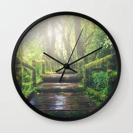 Green Mossy Forest Path Bridge Wall Clock