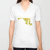 maryland V-neck T-shirts featuring Maryland in Flowers by Ursula Rodgers