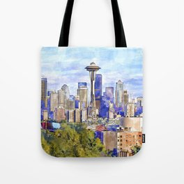 Seattle View in watercolor Tote Bag