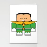 power rangers Stationery Cards featuring Mighty Morphin Power Rangers - The Original Green Ranger Unmasked (Tommy) by Choo Koon Designs