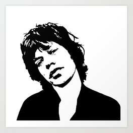 "Sir Michael Philip ""Mick"" JaggerBlack White Face, Music, Art Art Print"