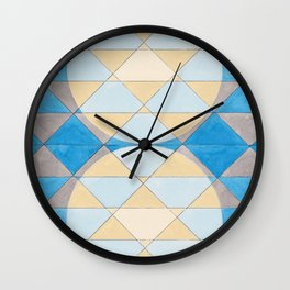 Triangle Pattern No. 14 Circles in Black, Blue and Yellow Wall Clock
