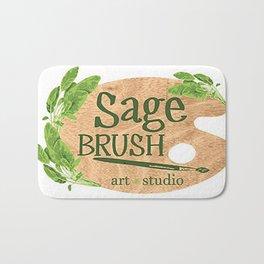 Sage Brush Art Studio Logo - White Bath Mat