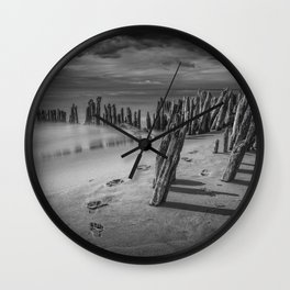 Footprints and Pilings on the Beach in Black and White at Kirk Park by Grand Haven Michigan Wall Clock