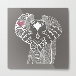 gray elephant Metal Print