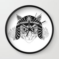 simba Wall Clocks featuring Simba, the fighter by Wondering Wagon