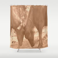 chicago bulls Shower Curtains featuring Bulls Fight by Four Hands Art