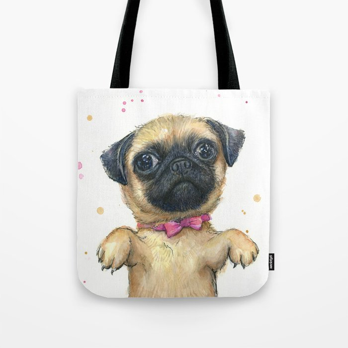 Cute Pug Puppy Dog Watercolor Painting Tote Bag