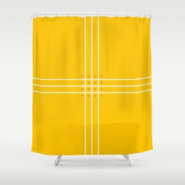 Fine Lined Cross on Yellow Shower Curtain