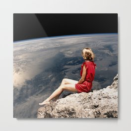 Girl with Red Dress Metal Print