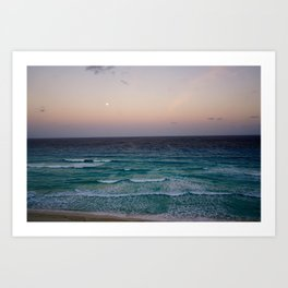 Beach and sky at sunset time Art Print