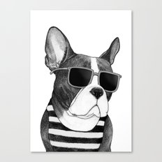 Frenchie Summer Style b&w Canvas Print