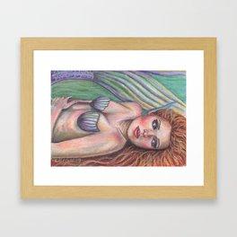 Mermaid Art Pastel ORIGINAL Resting Spot by Laurie Leigh Fantasy Framed Art Print