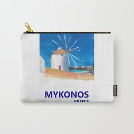 Mykonos Greece Windmill, Sea and Little Venice Travel Retro Poster Carry-All Pouch