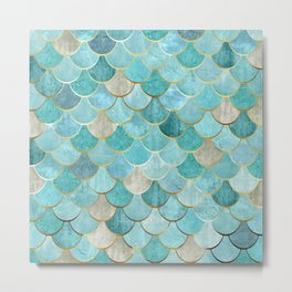 Moroccan Mermaid Fish Scale Pattern, Aqua,Teal Metal Print