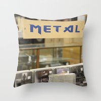 metal Throw Pillows featuring Metal by Bingz