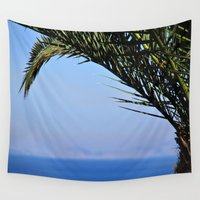palm tree Wall Tapestries featuring Palm Tree by M. Gold Photography