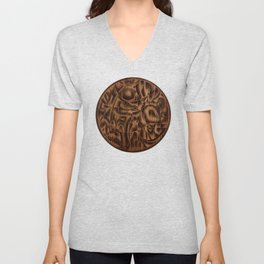 Abstract Wood Carving Pattern Unisex V-Neck