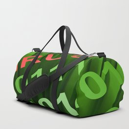 VIRUS in the binary code - 3D rendering Duffle Bag