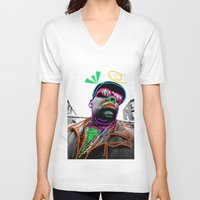 biggie V-neck T-shirts featuring Biggie by Kibwe Maono