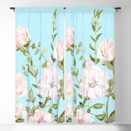Blush Watercolor Spring Florals Meadow On Teal Blackout Curtain