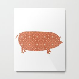 PIG OINKY SILHOUETTE WITH PATTERN Metal Print