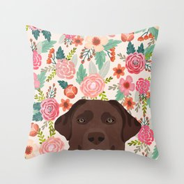 Chocolate Lab florals dog breed portrait pet art dog lover gifts labrador retriever Throw Pillow